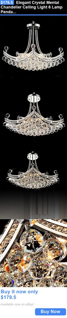 Lamps And Lighting: Elegant Crystal Mental Chandelier Ceiling Light 6 Lamp Pendant Lighting Fixture BUY IT NOW ONLY: $179.5