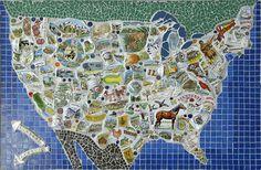Alan's Map: Broken dishes, ceramic tile, found objects -Indigo Moon Mosaics - Mosaic Maps Gallery