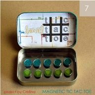 great for little kids and waiting time. Magnetic tic tac toe from Altoids box  Great for your purse!