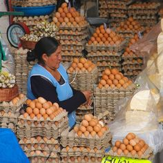 Egg and cheese stand at the central market in Sucre, #Bolivia.