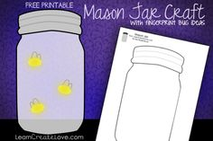 Printable Mason Jar Craft with Fingerprint Bugs