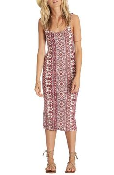 Free shipping and returns on Billabong Share Joy Body-Con Midi Dress at Nordstrom.com. Show your bohemian side—and some curves—in this stretchy tank dress fashioned with an artful print and body-conscious fit.