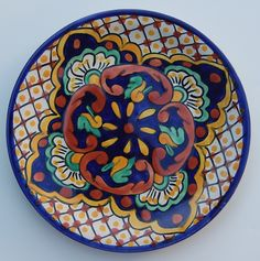 Unique yellow dotted and floral traditional Mexican plate Pottery Painting, Ceramic Painting, Mexican Art, Mexican Tiles, Cultural Crafts, Mexican Ceramics, Mexican Designs, Painted Plates, Plate Design