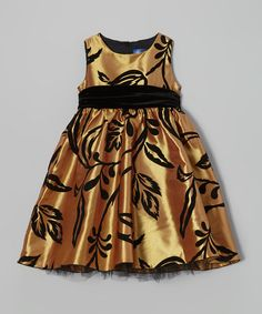 Take a look at this Gold & Black Floral Dress - Infant, Toddler & Girls by Blue Pearl by Mulberribush on #zulily today!