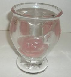 """6"""" Footed Pedistal Vase Teleflora Clear  Frosted Pink Roses Made In France  T36 #Teleflora #Contemporary"""