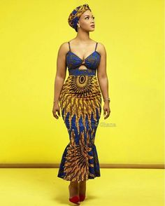 Azura African dress with matching headwrap - African Fashion Dresses African Fashion Designers, African Inspired Fashion, African Print Fashion, Africa Fashion, Modern African Fashion, African Attire, African Wear, African Women, African Style