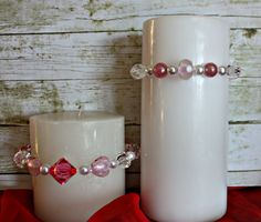 Pink Valentine Candle Rings Candle Rings by BrownBeaverBeadery