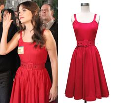 Thats the adorable Zooey Deschanel in The New Girl wearing the Annette Dress in red voile! #trashydivaannettedress