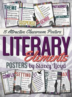 15 LITERARY ELEMENTS POSTERS {Letter Size} These colorful posters will brighten up your classroom and help remind your students of these different literary elements. These posters were designed with the Middle / High School classroom in mind. Ela Classroom, High School Classroom, English Classroom, Classroom Posters, Future Classroom, Classroom Decor, 6th Grade Ela, 6th Grade Reading, Ninth Grade