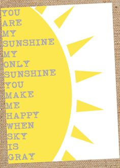 8x10 You Are My Sunshine Wall Art- Art Print - Nursery Decor