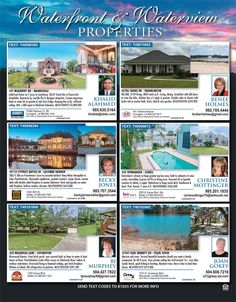 Looking for property on the water? Our Waterfront & Waterview properties page has just that! Get the newest edition of Homes & Land Magazine New Orleans Northshore today!