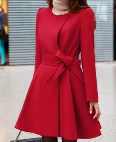 Red long coat in wool a vivid color and a must for the F/W. Very ...