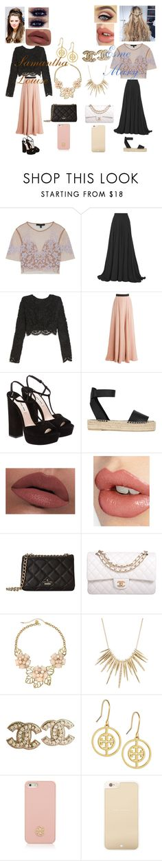 """""""Lace Accents"""" by dreaming-of-a-better-tomorrow ❤ liked on Polyvore featuring For Love & Lemons, Elie Saab, Stone_Cold_Fox, Roksanda, Miu Miu, Vince, LORAC, Charlotte Tilbury, Kate Spade and Chanel"""