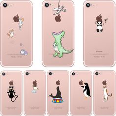 Phone cases cute animals Spoof crocodile Cat panda penguin soft clear silicon Case Cover for Apple iPhone 7 7plus 5S SE 6 6plus