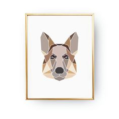 Check out our german shepherd nursery selection for the very best in unique or custom, handmade pieces from our shops. Geometric Dog, Eye Illustration, Polygon Art, Pastel Decor, Dog Poster, Dog Crafts, Dog Paintings, Simple Art, Minimalist Art