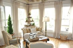 My Momma and Daddy's sun room that I designed. Sunroom Playroom, Playroom Design, Curtains With Blinds, Sheer Curtains, French Country Furniture, Shared Rooms, Window Treatments, Home And Living, Painted Furniture