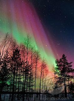 Finland's Northern Lights Aurora Borealis   Aurora borealis storm colours in night sky, northern Finland, February ...