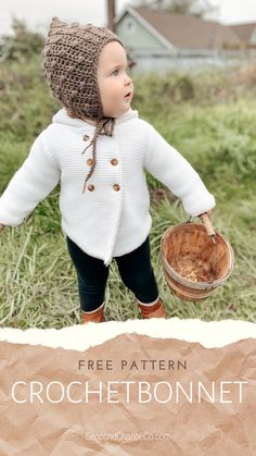 Baby Bonnet Pattern Free, Crochet Baby Bonnet, Crochet Bebe, Free Crochet, Free Pattern, Crochet Crafts, Crochet Yarn, Crochet Stitches, Crochet Baby Hat Patterns