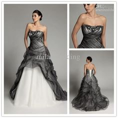 Wholesale Black White Wedding dresses Tulle Ruffle Court Floor length Strapless Ball Gown Wedding dresses P101, Free shipping, $123.2-134.4/Piece | DHgate