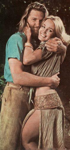 "Jessica Lange and Jeff Bridges on the set of ""King Kong"" (1976)"