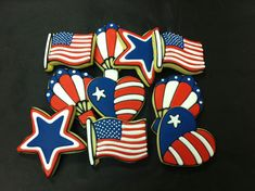 4th of July Cookies, Independence Day Cookies, Patriotic Cookie Favors, American Flag…