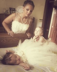 Me and my flower girl daughters on my wedding day :)