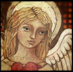 """This is my new painting, """"Trinity"""".  It's only showing a partial....she's holding three hearts. ©Teresa Kogut #angel #art #mixmedia"""