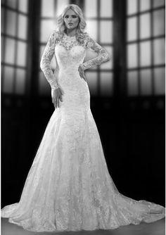 Elegant A-line Long Sleeve Beading&Sequins Lace Chapel Train Wedding Dress