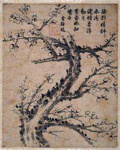 """""""Fleurs de prunier"""" de Shan Li. Paris, musée Guimet - musée national des Arts asiatiques  -Photo (C) Musée Guimet, Paris, Dist. RMN-Grand Palais / Ghislain Vanneste"""