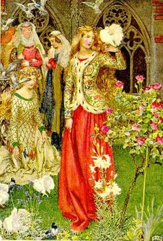 """artofnarrative: """" Eleanor Fortescue-Brickdale ~ Guinevere ~ Idylls of the King by Alfred Lord Tennyson ~ 1913 ~ via Illustration for Guinevere As in the golden days. King Arthur Legend, Legend Of King, The Lady Of Shalott, Mists Of Avalon, Illustration Art, Illustrations, Fairytale Art, Pre Raphaelite, Medieval Art"""