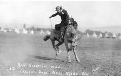 Bucking cowgirl. Wall Walla, Washington.