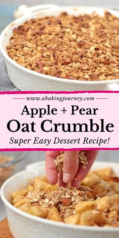 apple crisp This Pear and Apple Crumble recipe is the ultimate Fall dessert recipe! This easy warm winter dessert for a crowd combines fresh apples and pears and an oat crumble topping mad Oat Crumble Topping, Fruit Crumble, Blueberry Crumble, Vegan Crumble, Pear Dessert Recipes, Apple Recipes, Pear Recipes Healthy, Healthy Desserts, Drink Recipes