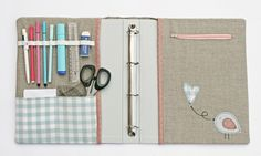 Binder organizer - I love this so much! I would add a fabric flap over the left inside cover to keep the tools from marking the first page in the binder and some velcro to keep that closed.