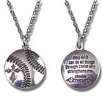 Women's Softball Pendant Necklace - PHIL 4:13 | Ladies Softball Necklace with inspirational text on the back for motivation - I can do all things through Christ who strengthens me.