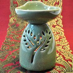 Große Duftöl Lampe Massageöl Wärmer Keramik Grün