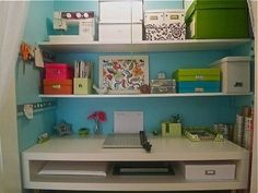 Colorful and happy.  I like the open, rectangle desk surface. I would love this now in college.