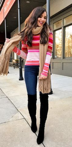 #winter #outfits  brown scarf