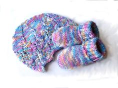 Pastel colors lacey hat and socks soft rainbow by TinyOrchids, $27.00