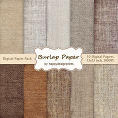 "Burlap Canvas Linen Fabric Digital Paper Pack of 10, 300 dpi, 12""x12"" Instant Download Pattern Paper Scrapbooking, Invites, Cards JPG"