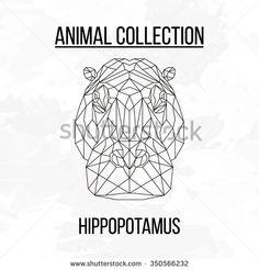 Hippopotamus head geometric lines silhouette isolated on white background vintage vector design element illustration