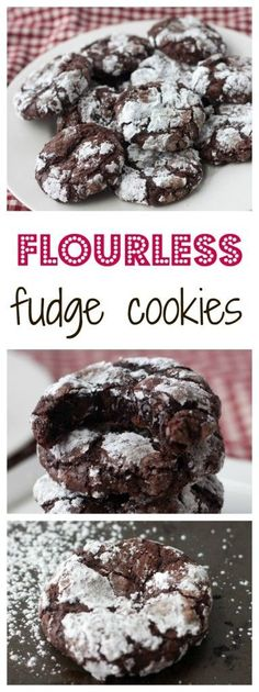 Flourless Fudge cookies - easy chocolate cookie recipe, about a 100 calories for one cookie too! These gluten free chocolate cookies will please anyone who tries one. Low Calorie Cookies, Cookies Sans Gluten, Dessert Sans Gluten, Low Calorie Desserts, Healthy Cookies, Low Calorie Baking, Healthy Bars, Keto Desserts, Flourless Chocolate Cookies