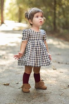 Little Girls Dress - Toddler Girl Dress - Vintage Length Dress - Plaid Dress - Navy Dress - Birthday Girls Toddler Fashion Little Girl Outfits, Little Girl Fashion, Cute Little Girls, Baby Outfits, Little Girl Style, Baby Girls, Fashion Kids, Kids Winter Fashion, Fashion Clothes