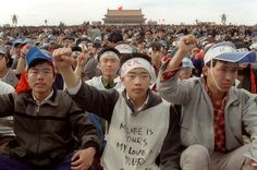 Students from Beijing University stage a huge demonstration in Tiananmen Square as they start an unlimited hunger strike as the part of mass pro-democracy protest against the Chinese government, on May 18, 1989. (Catherine Henriette/AFP/Getty Images) #