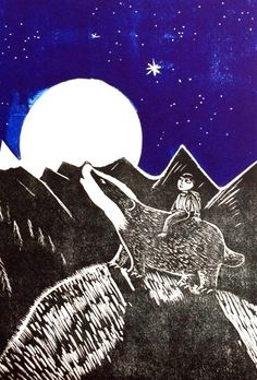 'Whispering Pines' linocut by Ed Boxall