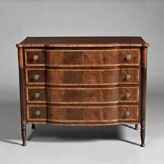 Federal Mahogany Carved and Wavy Birch Inlaid Chest of Drawers, Portsmouth, New Hampshire, c. 1810-20