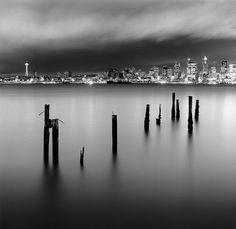Seattle at night by Pierre Galin, via Flickr