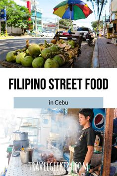 Discover the best street food in Cebu, Philippines. Delicious Filipino street food - and not just the famous balut or lechon. Delicious and authentic street food options that will make you fall in love with Cebu food and people. Visit a typical local street food market and enjoy Filipino food that cannot be found elsewhere. #streetfood #foodie #philippines #cebu #travelgeekery Filipino Street Food, Filipino Food, Street Food Market, Best Street Food, Travel Tips For Europe, Asia Travel, Philippines Cebu, Lechon, Cebu City