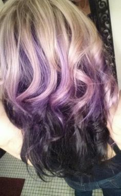 Got my summer hair touch up..... blonde with purple & dark underneath :)