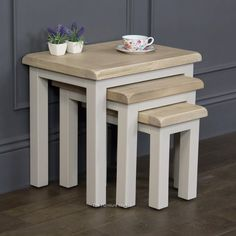 Grey Stone Painted Nest of Three Coffee Tables with Oak Tops