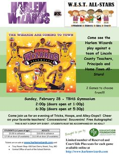 Join the Education Foundation & all FOUR districts in the county for the Harlem Wizards!